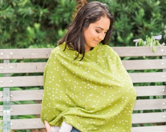 green cross cute nursing poncho, plus nursing poncho, infant carseat, full nursing cover, car seat canopy, shopping cart cover, cover shawl