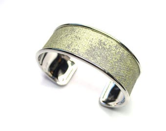 new collection Bangle rhodium open, decorated with linen