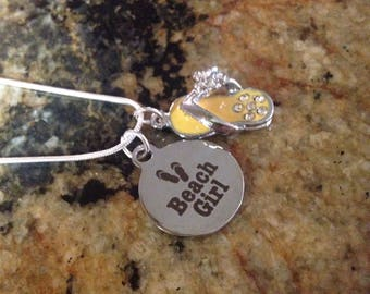 Flip Flop Necklace with Quote Charm - Yellow