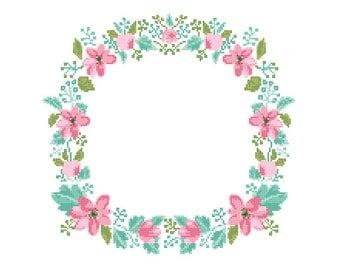 Floral Wreath Cross Stitch Pattern modern cross stitch Pink Floral Blue Green cross stitch wreath cross stitch pattern