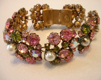 Vintage Austrian Signed Pink / Green Rhinestone and Faux Pearl Bracelet (E184)