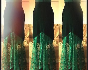 Green Velour Mermaid Skirt, Plus Size, Size 16