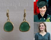 Kate Middleton Duchess of Cambridge Inspired Replikate Queen Letizia Green Onyx Yellow Gold Drop Earrings