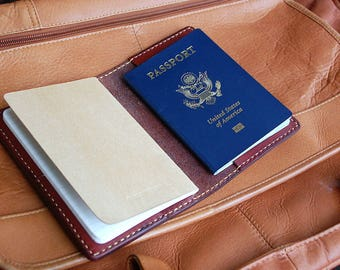 Handmade Chestnut Leather Field Notes and Passport Cover with credit card pockets.