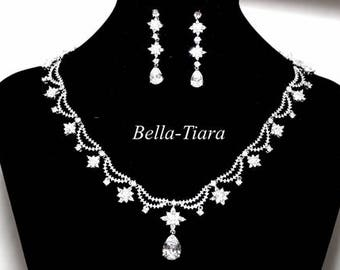 royal crystal wedding necklace set, bridal jewelry, bridal necklace set, cz bridal necklace and earrings, wedding jewelry
