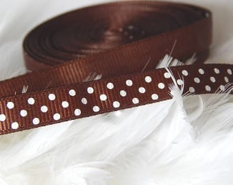 4 meter with Brown Ribbon with white dots grosgrain Ribbon 10 mm