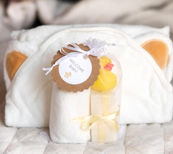 Full UNISEX Baby Bath Set | Three 1 oz Lavender Bars, Organic Bamboo Hooded Bath Blanket, Super Soft Cream Bamboo Washcloth and Rubber Ducky