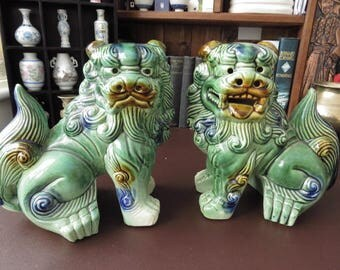 "A Pair Of Large (9"") Chinese Foo Dogs - Dogs Of Fo  - Shi-Shi - We Do Ship Overseas"