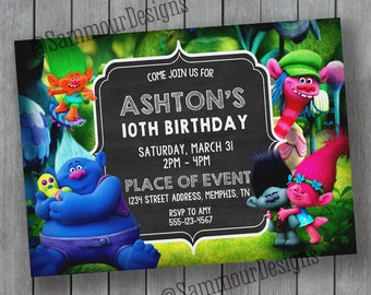 Trolls Birthday Invitation - Trolls Invitation - Trolls Birthday - Printable Trolls Invitation