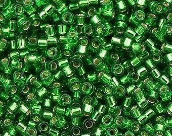 11/0 MIYUKI Delica DB-46 Silver Lined Green, 20grams