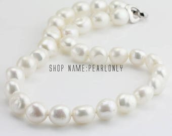 12-13mm large baroque pearl necklace,irregular pearl wedding necklace,white freshwater pearl necklace,bridesmaid gifts,mother necklace