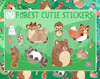 Forest Cuties Sticker Sheets - Kawaii Stickers - ( Cute scrapbook planner party favor fox bear deer raccoon owl ) (Pack of 2)