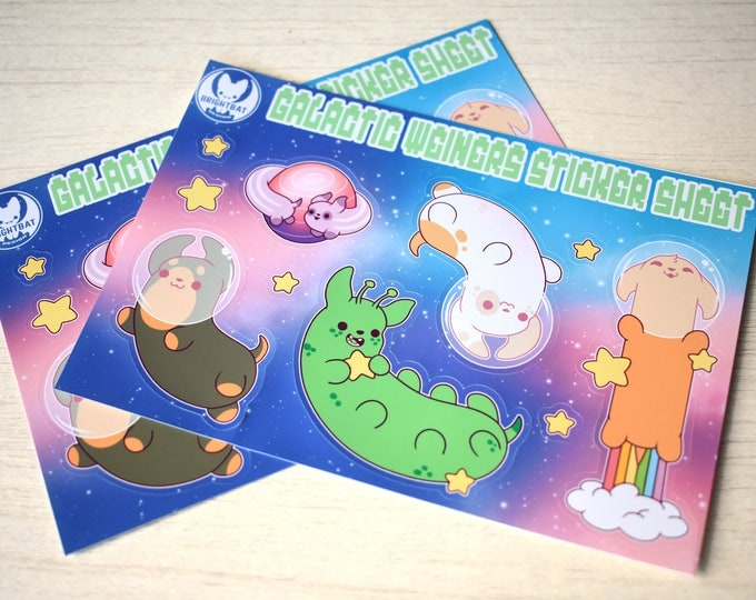 Featured listing image: Kawaii Galactic Weiners Space Dachshund Sticker Sheets