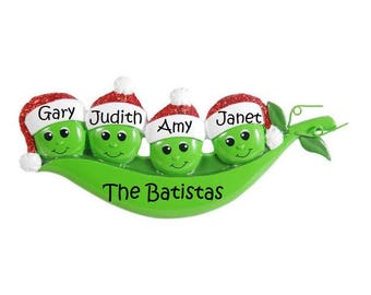 Pea Pod Family Holiday Ornamanets, Family of Four Cute Peas, Pea Pod Family Series Ornament