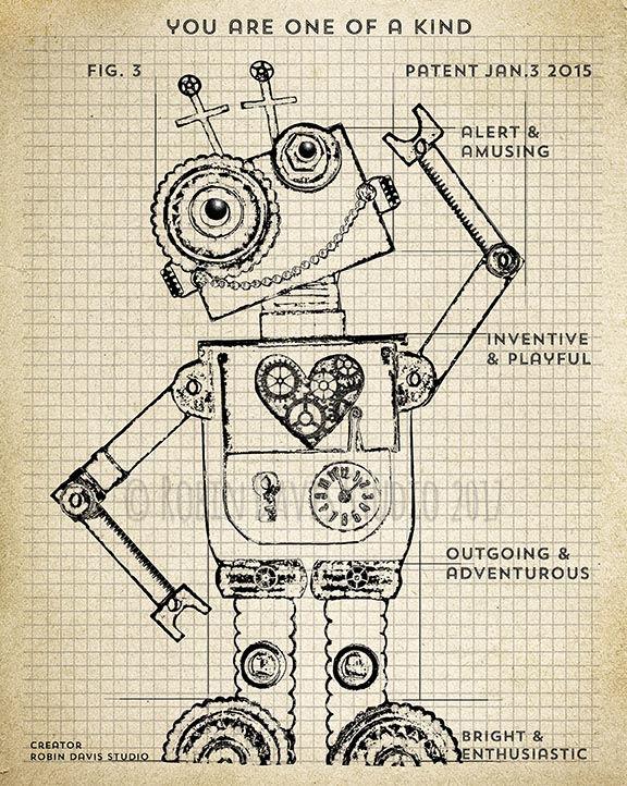 Robot blueprint printable robot patent printable vintage robot robot blueprint printable robot patent printable vintage robot printable toy robot blueprints malvernweather Gallery