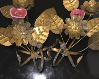 Vintage italian brass hook sconces with ceramic roses