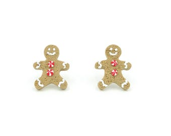 NEW Gingerbread Cookie Stud Earrings / Christmas Jewelry / Christmas Cookie Stud Earrings / Polymer Clay Jewelry / Holiday Jewelry