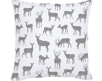 Cloud Gray Deer Throw Pillow by Carousel Designs. Made in the USA.