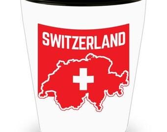 Switzerland Flag - Swiss Flag - Shot Glass - Swiss Pride - White Ceramic
