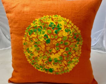 Cushion linen washed 45 cm X 45 cm orange with a placemat