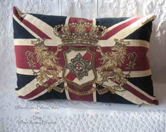 Vintage British Union Jack Pillow Lion Crown Motif  Retro  Classic Decorative Pillow Home Decor Elegant Furnishing NOS w/ tag WhenRosesBloom