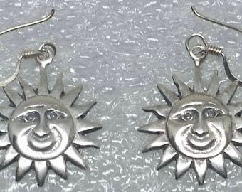 Vintage Mexico silver dangle earrings sun's face design