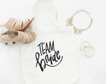 Bridesmaid Tote Bags - Bridesmaid Gift, Maid of Honor Gift, Favor Bags, Gift Bags, Bridal Party Bags Bride Bag Wedding Tote Bag, Team Bride