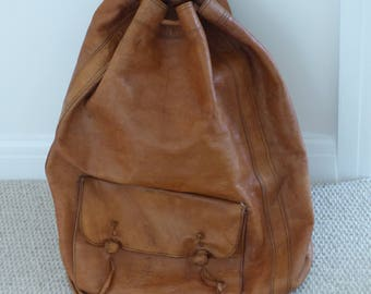 Vintage Moroccan Leather Duffle Bag