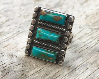 6-7 1930s Navajo ring sterling silver coin 925 high grade natural turquoise three stone 6.5 6 1/2 square 5.5 5 1/2 multistone southwest big
