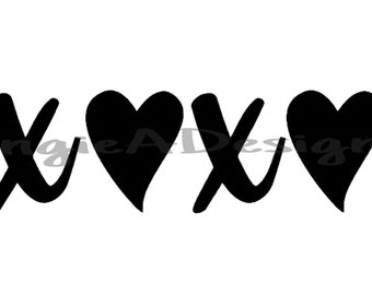 XOXO with Hearts SVG