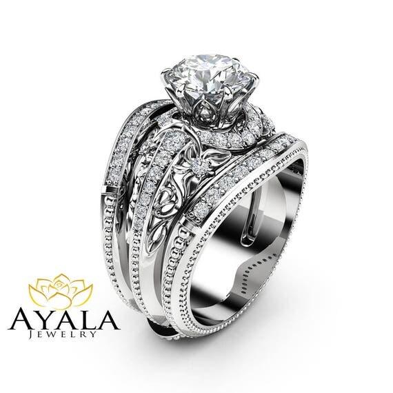 moissanite engagement ring guard set unique 14k white gold