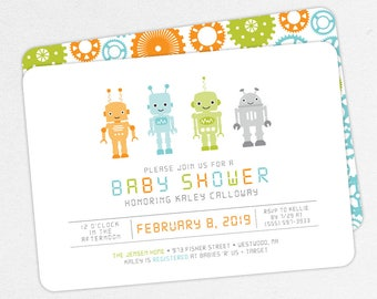 Robot Baby Shower Invitation, Neutral Baby Shower, Boy Baby Shower, Printable Invitation, PDF, DIY Invitation, Gears, Blue, Green, Baby Bot