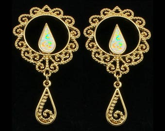 Gold Plated  Dangle Stainless Steel Plugs with Fire Opal Center