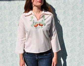 Ruffle blouse, embroidered blouse, embroidered shirt, hippie blouse, 70s blouse, boho blouse, floral blouse, embroidered top, folk blouse
