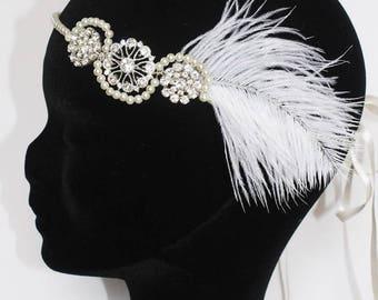 Wedding Bridal Headband Great Gatsby retro vintage feather beads swarovski Headband mariage mariée rétro vintage Gatsby perles plumes