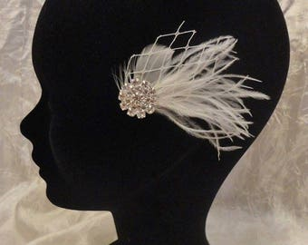 Wedding - bridal fascinator - bridal hair accessories hair jewelry - bridal vintage - rhinestone ivory feathers