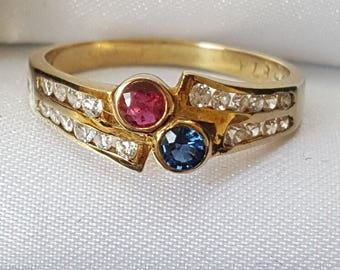 Vintage Ruby and Sapphire Collet Set Gold Ring