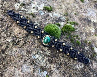 Macrame bracelet malachite with a bronze setting - color black