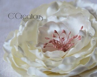 Jewel of hair Flower of satin ivory and old rose