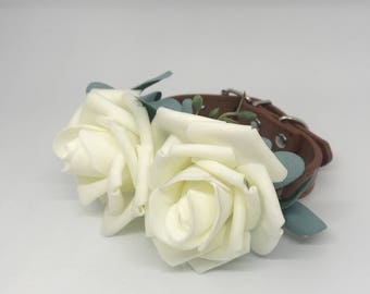 Small Ivory Flowers and Eucalyptus Leather Wedding Dog Collar for Pet Wedding Save the Date Engagement Photos Small Dogs