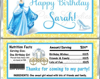 CINDERELLA Birthday Chocolate Bar Wrappers - Cinderella Party Candy Bar Wrap - Custom Disney Princesses Birthday Candy Wraps