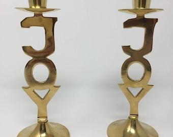 Vintage Set Joy Holiday Candlestick Holders Solid Brass International Silver Co