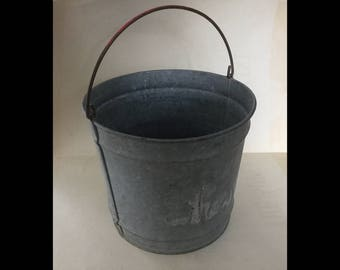 Vintage galvanized bucket pail small red handle