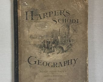 1883 antique Harper's school geography book