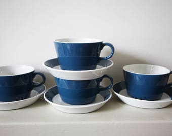 Set of 4 Blue and White Arabia Finnish Cups and Saucers