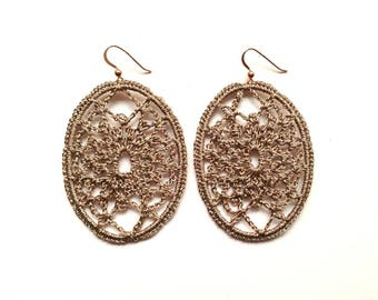 Golden Cobweb-crochet crochet gold earrings earings
