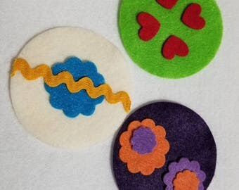 Felt ornaments for felt Christmas tree - Set of 3