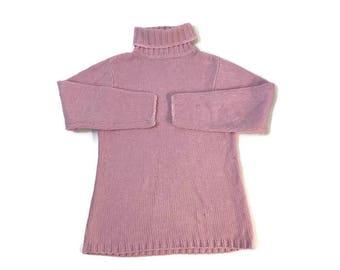 Vintage Pastel Pink Knit Turtleneck Sweater