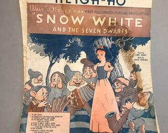 SNOW WHITE movie sheet music, Heigh-Ho sheet music, Dwarf's Marching Song, Irving Berlin music, vintage sheet music, vintage paper ephemera