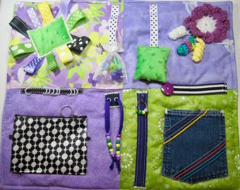 Purple and Greens Fidget Sensory Quilt for Dementia, Alzheimer's and others.